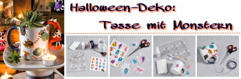 Halloween-Deko: Tasse mit Monstern