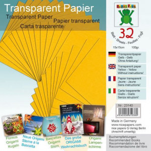 Transparentpapier, ,15 x 15 cm, 32 Blatt / 100 g/m², orange